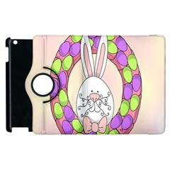 Make An Easter Egg Wreath Rabbit Face Cute Pink White Apple Ipad 3/4 Flip 360 Case by Mariart