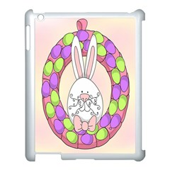 Make An Easter Egg Wreath Rabbit Face Cute Pink White Apple Ipad 3/4 Case (white) by Mariart