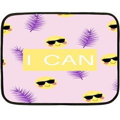 I Can Purple Face Smile Mask Tree Yellow Double Sided Fleece Blanket (mini)  by Mariart