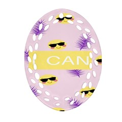 I Can Purple Face Smile Mask Tree Yellow Oval Filigree Ornament (two Sides) by Mariart