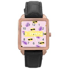 I Can Purple Face Smile Mask Tree Yellow Rose Gold Leather Watch  by Mariart
