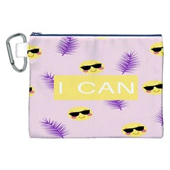 I Can Purple Face Smile Mask Tree Yellow Canvas Cosmetic Bag (xxl) by Mariart