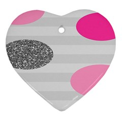 Polkadot Circle Round Line Red Pink Grey Diamond Heart Ornament (two Sides) by Mariart