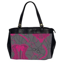 Pink Black Handcuffs Key Iron Love Grey Mask Sexy Office Handbags (2 Sides)  by Mariart
