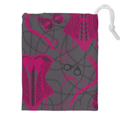 Pink Black Handcuffs Key Iron Love Grey Mask Sexy Drawstring Pouches (xxl) by Mariart