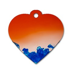 Simulate Weather Fronts Smoke Blue Orange Dog Tag Heart (two Sides) by Mariart