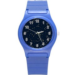Star Zodiak Space Circle Sky Line Light Blue Yellow Round Plastic Sport Watch (s) by Mariart