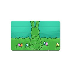 Rabbit Easter Green Blue Egg Magnet (name Card) by Mariart