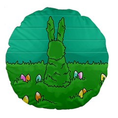 Rabbit Easter Green Blue Egg Large 18  Premium Flano Round Cushions by Mariart