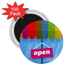 Store Open Color Rainbow Glass Orange Red Blue Brown Green Pink 2 25  Magnets (100 Pack)  by Mariart