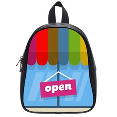 Store Open Color Rainbow Glass Orange Red Blue Brown Green Pink School Bags (small)  by Mariart