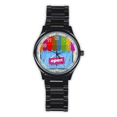 Store Open Color Rainbow Glass Orange Red Blue Brown Green Pink Stainless Steel Round Watch by Mariart