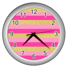 Pink Line Gold Red Horizontal Wall Clocks (silver)  by Mariart