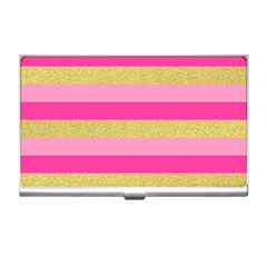 Pink Line Gold Red Horizontal Business Card Holders by Mariart