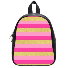 Pink Line Gold Red Horizontal School Bags (small)  by Mariart