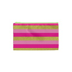 Pink Line Gold Red Horizontal Cosmetic Bag (xs) by Mariart