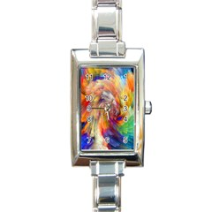 Rainbow Color Splash Rectangle Italian Charm Watch by Mariart