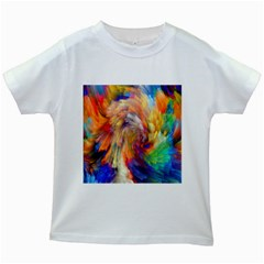 Rainbow Color Splash Kids White T Shirts by Mariart
