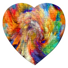 Rainbow Color Splash Jigsaw Puzzle (heart) by Mariart