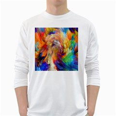 Rainbow Color Splash White Long Sleeve T Shirts by Mariart