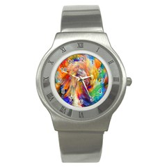 Rainbow Color Splash Stainless Steel Watch by Mariart
