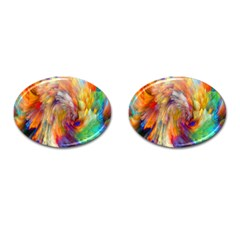 Rainbow Color Splash Cufflinks (oval) by Mariart