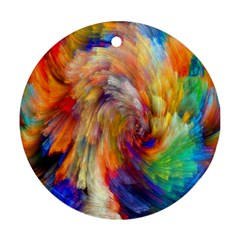 Rainbow Color Splash Round Ornament (two Sides) by Mariart