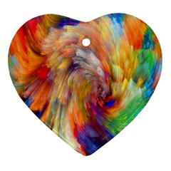 Rainbow Color Splash Heart Ornament (two Sides) by Mariart