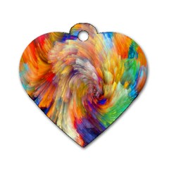 Rainbow Color Splash Dog Tag Heart (one Side) by Mariart