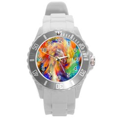 Rainbow Color Splash Round Plastic Sport Watch (l) by Mariart