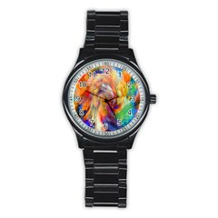 Rainbow Color Splash Stainless Steel Round Watch by Mariart
