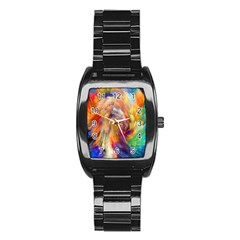Rainbow Color Splash Stainless Steel Barrel Watch by Mariart