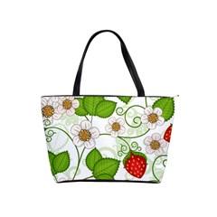Strawberry Fruit Leaf Flower Floral Star Green Red White Shoulder Handbags by Mariart