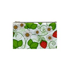 Strawberry Fruit Leaf Flower Floral Star Green Red White Cosmetic Bag (small)  by Mariart