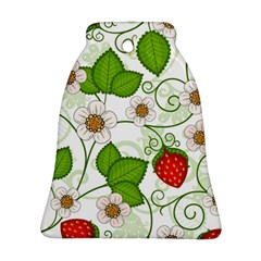 Strawberry Fruit Leaf Flower Floral Star Green Red White Ornament (bell) by Mariart