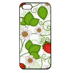 Strawberry Fruit Leaf Flower Floral Star Green Red White Apple Iphone 5 Seamless Case (black) by Mariart
