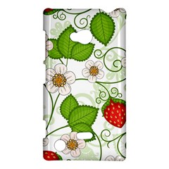 Strawberry Fruit Leaf Flower Floral Star Green Red White Nokia Lumia 720 by Mariart