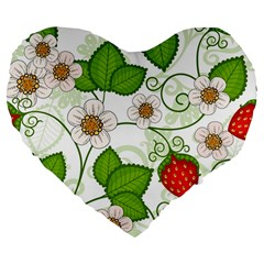 Strawberry Fruit Leaf Flower Floral Star Green Red White Large 19  Premium Flano Heart Shape Cushions by Mariart