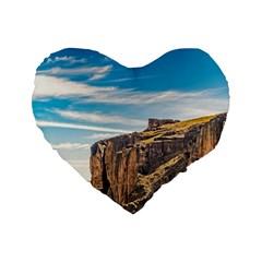 Rocky Mountains Patagonia Landscape   Santa Cruz   Argentina Standard 16  Premium Flano Heart Shape Cushions by dflcprints
