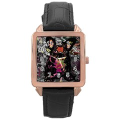 Bulldog Rose Gold Leather Watch  by Valentinaart