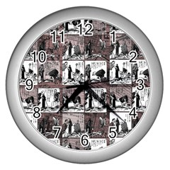 Comic Book  Wall Clocks (silver)  by Valentinaart
