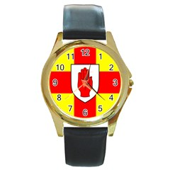 Flag Of The Province Of Ulster  Round Gold Metal Watch by abbeyz71