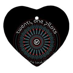 Twenty One Pilots Heart Ornament (two Sides) by Onesevenart