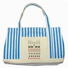Ugly Christmas Humping Striped Blue Tote Bag by Onesevenart