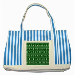 Ugly Christmas Striped Blue Tote Bag by Onesevenart