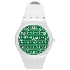 Ugly Christmas Round Plastic Sport Watch (m) by Onesevenart