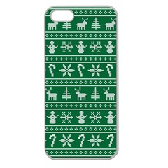 Ugly Christmas Apple Seamless Iphone 5 Case (clear) by Onesevenart