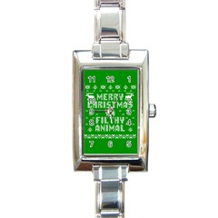 Ugly Christmas Sweater Rectangle Italian Charm Watch by Onesevenart