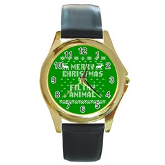 Ugly Christmas Sweater Round Gold Metal Watch by Onesevenart