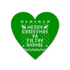 Ugly Christmas Sweater Heart Magnet by Onesevenart